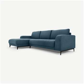 Luciano Left Hand Facing Chaise End Corner Sofa, Orleans Blue (H80 x W273 x D154cm)
