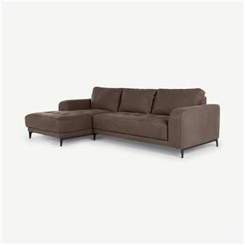 Luciano Left Hand Facing Corner Sofa, Texas Charcoal Grey Leather (H86 x W278 x D154cm)