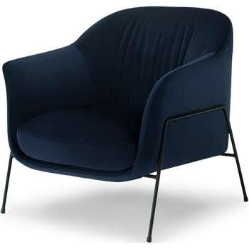 Lucie Accent Armchair, Archie Blue Velvet (H86 x W85 x D84cm)