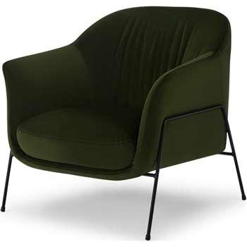 Lucie Accent Armchair, Olive Green Velvet (H86 x W85 x D84cm)