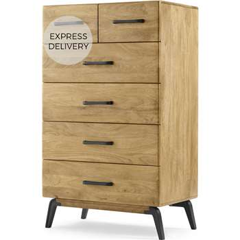 Lucien Tall Chest of Drawers, Light Mango Wood (H123 x W73 x D45cm)
