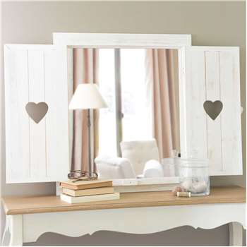 LUCY window mirror with hearts, whitewashed wood H 71cm