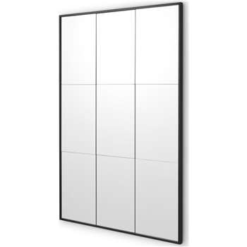 Ludlow Industrial Window Pane Leaner Mirror, Matt Black (H100 x W70 x D2cm)