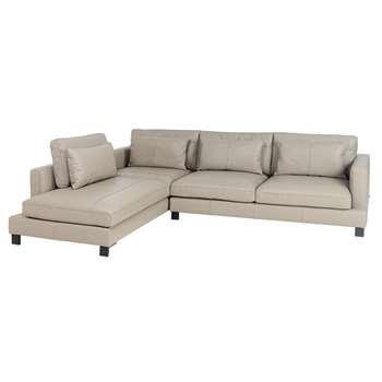 Lugano leather left hand corner sofa dove grey (H84 x W299 x D109cm)
