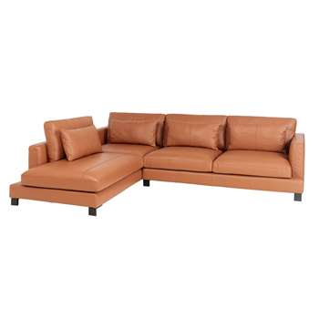 Lugano leather left hand corner sofa tan (H84 x W299 x D109cm)