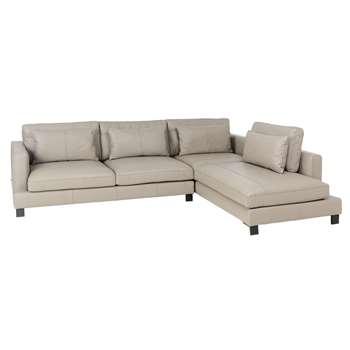Lugano leather right hand corner sofa dove grey (H84 x W299 x D109cm)