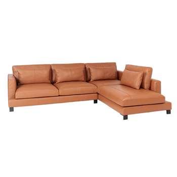 Lugano leather right hand corner sofa tan (H84 x W299 x D109cm)