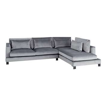 Lugano Right Hand Corner Sofa Grey Velvet (H84 x W299 x D225cm)