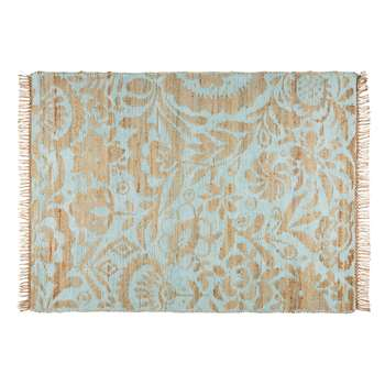 LUKILA Aqua Cotton and Jute Rug (H140 x W200cm)