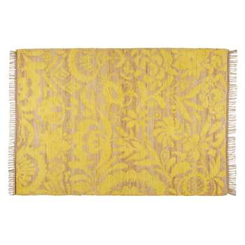 LUKILA mustard yellow cotton and jute rug (140 x 200cm)
