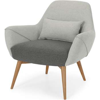 Lule Accent Chair, Marl Grey and Hail Grey with Natural Leg (H82 x W83 x D83cm)