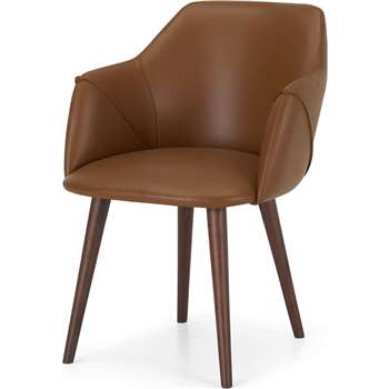 Lule Carver Chair, Tan Leather & Walnut (H83 x W60 x D61cm)