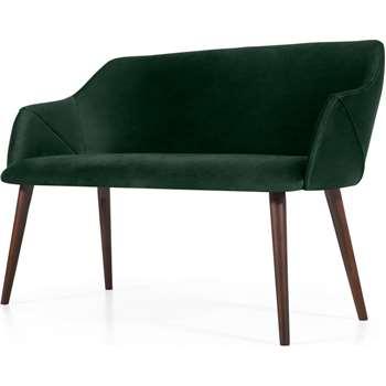 Lule Compact Dining Bench, Pine Green Velvet (H83 x W140 x D61cm)