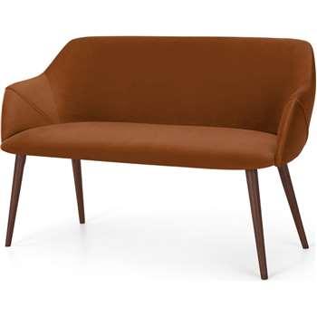 Lule Compact Dining Bench, Rust Velvet (H83 x W140 x D61cm)