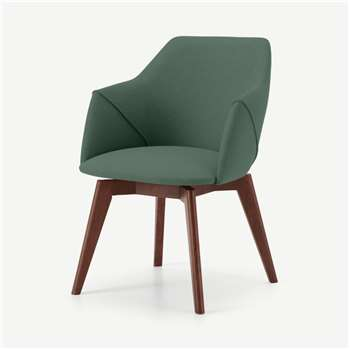 Lule Office Chair, Bay Green & Walnut (H79 x W59 x D61cm)