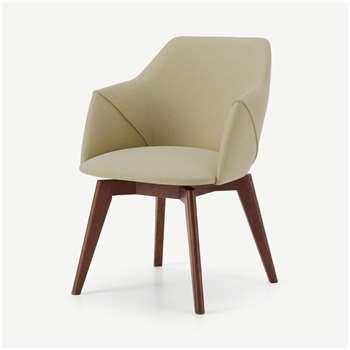 Lule Office Chair, Ecru & Walnut (H79 x W59 x D61cm)