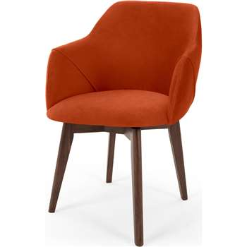 Lule Office Chair, Flame Orange Velvet (H79 x W59 x D61cm)