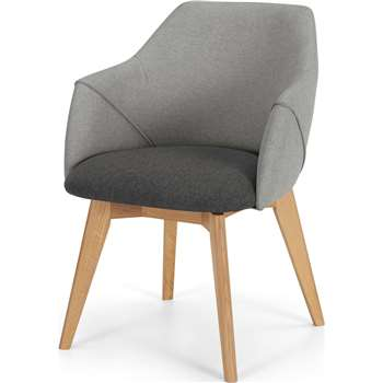 Lule Office Chair, Marl grey and Hail Grey and oak (H79 x W59 x D61cm)