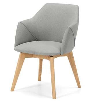Lule Office Chair, Marl Grey and Oak (H59 x W79 x D61cm)
