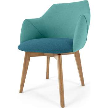Lule Office Chair, Mineral Blue and Emerald Green with oak legs (H79 x W59 x D61cm)