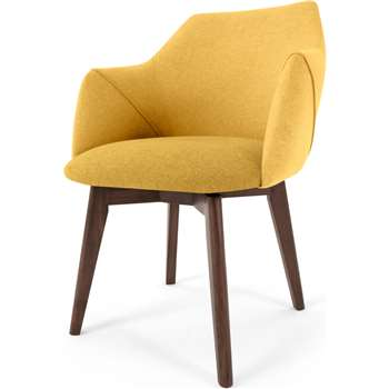 Lule Office Chair, Yellow and Walnut (H79 x W59 x D61cm)