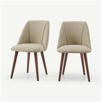 Lule Set of 2 Dining Chairs, Ecru & Walnut Leg (H83 x W53 x D61cm)
