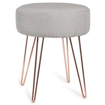 LULEA Copper Metal and Grey Fabric Stool (H42 x W35 x D35cm)