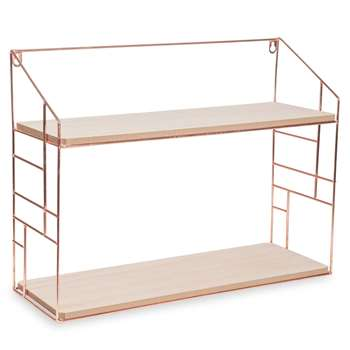 LULEA Copper Metal Wall Shelf (H38 x W50 x D17.5cm)