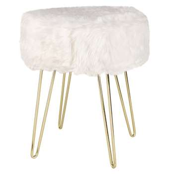 LULEA Vintage-Style White Faux Fur Stool (42 x 35cm)