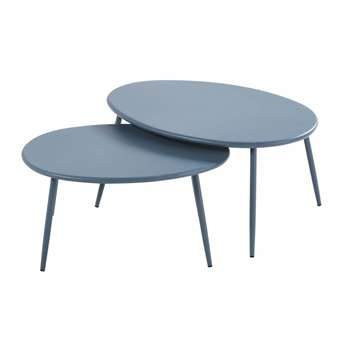 LUMPA Blue Grey Metal Garden Nest of Tables (H33.5 x W70 x D49.5cm)