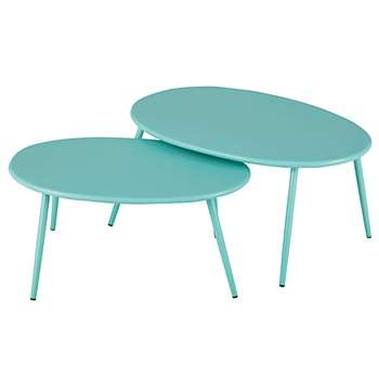LUMPA Garden nest of tables in turquoise metal (34 x 70cm)