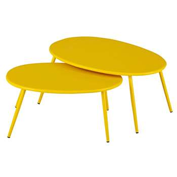LUMPA Garden nest of tables in yellow metal (34 x 70cm)