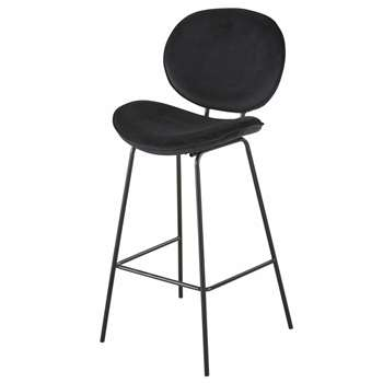 LUNA - Black Velvet and Metal Bar Chair (H105 x W49 x D49cm)