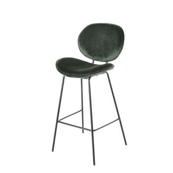 LUNA - Green Velvet and Black Metal Bar Chair (H105 x W49 x D49cm)