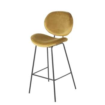 LUNA - Ochre Velvet and Black Metal Bar Chair (H105 x W49 x D49cm)