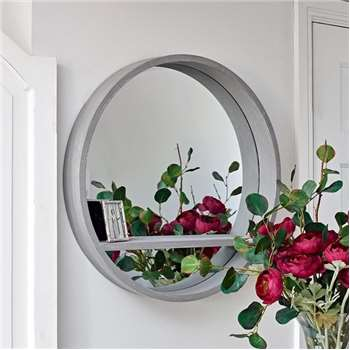 Luna Round Mirror Grey with Shelf (Diameter 62cm)