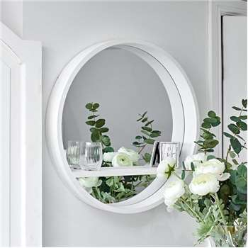 Luna Round Mirror White with Shelf (Diameter 62cm)