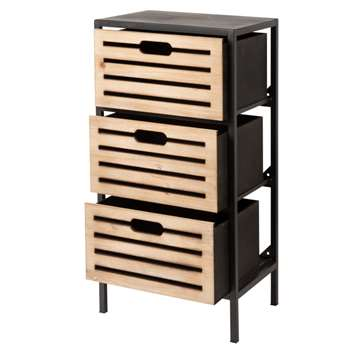 LUPIN - Small metal 3-drawer storage unit (H65 x W35 x D25cm)