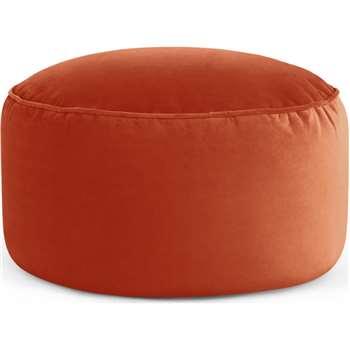Lux Velvet Floor Cushion, Flame Orange Velvet (H30 x W60 x D60cm)