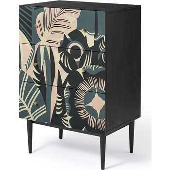 Luxari Chest of Drawers, Printed and Black Stain Mango Wood (H90 x W74 x D53cm)