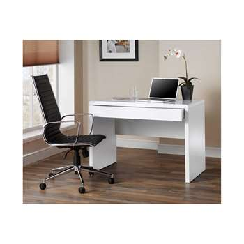 Luxor Gloss Workstation/Desk with Hidden Drawer, White (76 x 110cm)