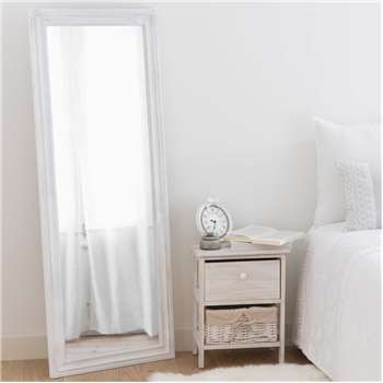 LYNA distressed white paulownia mirror (130 x 50cm)