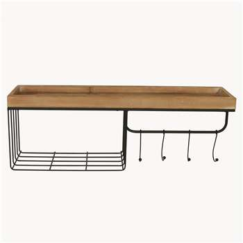 Lynfield Metal and Wood Hall Shelf (H28 x W80 x D21cm)