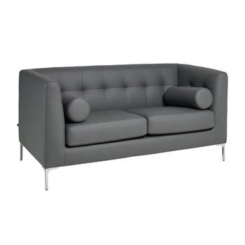 Lyon faux leather two seater sofa light grey (75 x 156cm)