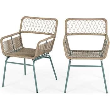 Lyra Garden Dining Chair Set, Grey (H80 x W55 x D58cm)