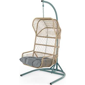 Lyra Garden Hanging Chair, Grey and Blue (H184 x W102 x D99cm)