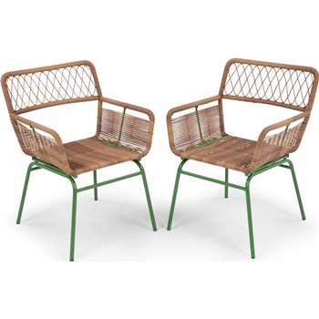Lyra Outdoor Dining Chair Set, Green (79.5 x 54.5cm)