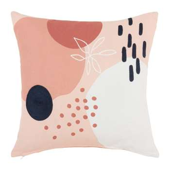 LYZZI - Pink, Blue and Ecru Cotton Cushion Cover with Print (H40 x W40cm)