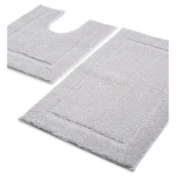 M&S Collection Quick Dry Bath & Pedestal Mats, Light Grey