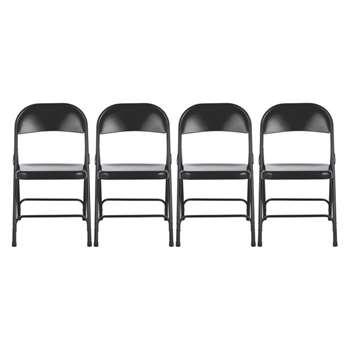 Macadam 4 black metal folding chairs